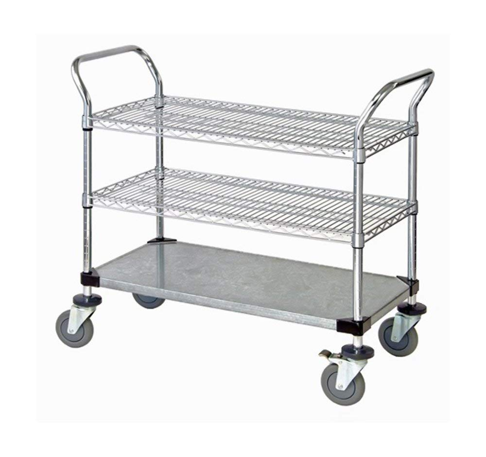 """Quantum 2 Wire Shelf & 1 Solid Shelf Mobile Utility Cart 24""""""""W x 42""""""""L x 37-1/2""""""""H , Automotive, tool & industrial , Office maintenance, janitorial & lunchroom , Carts , Service/utility"""