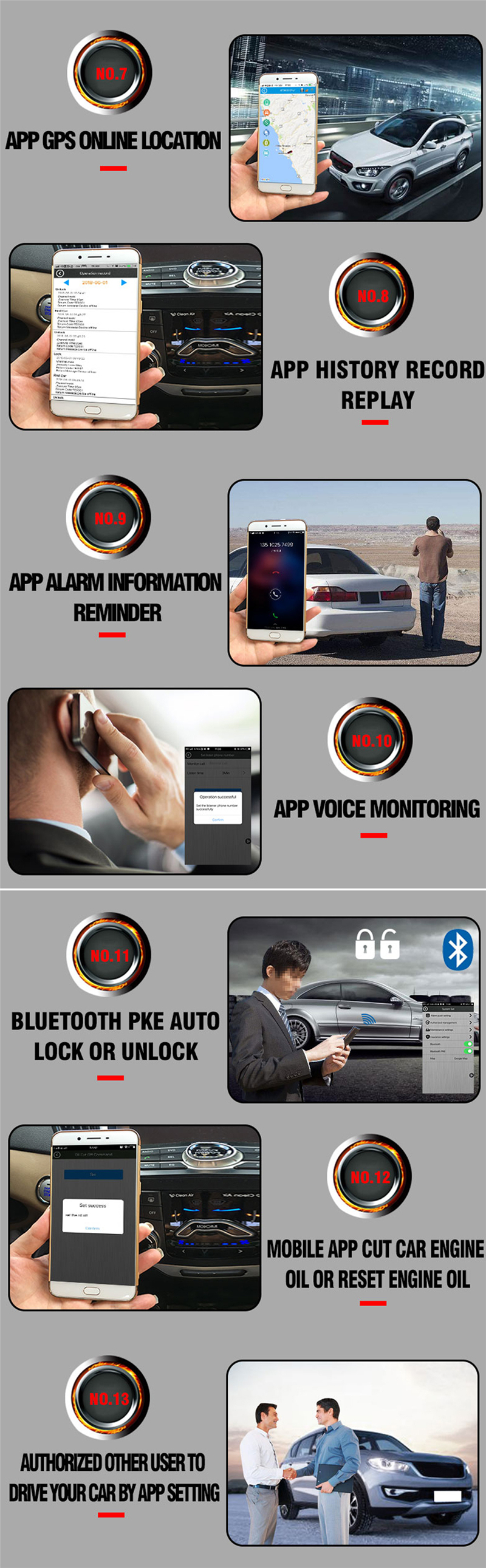 2018 new production 2g bluetooth car alarm system Smart phone GSM GPS tracker and remote car starter
