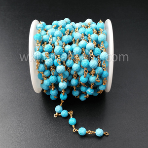 WT-RBC030 Wholesale High Quality Natural Faceted Turquoise Beads Copper Rosary Chain,6mm Freedom Turquoise Stone Wrapped Chain
