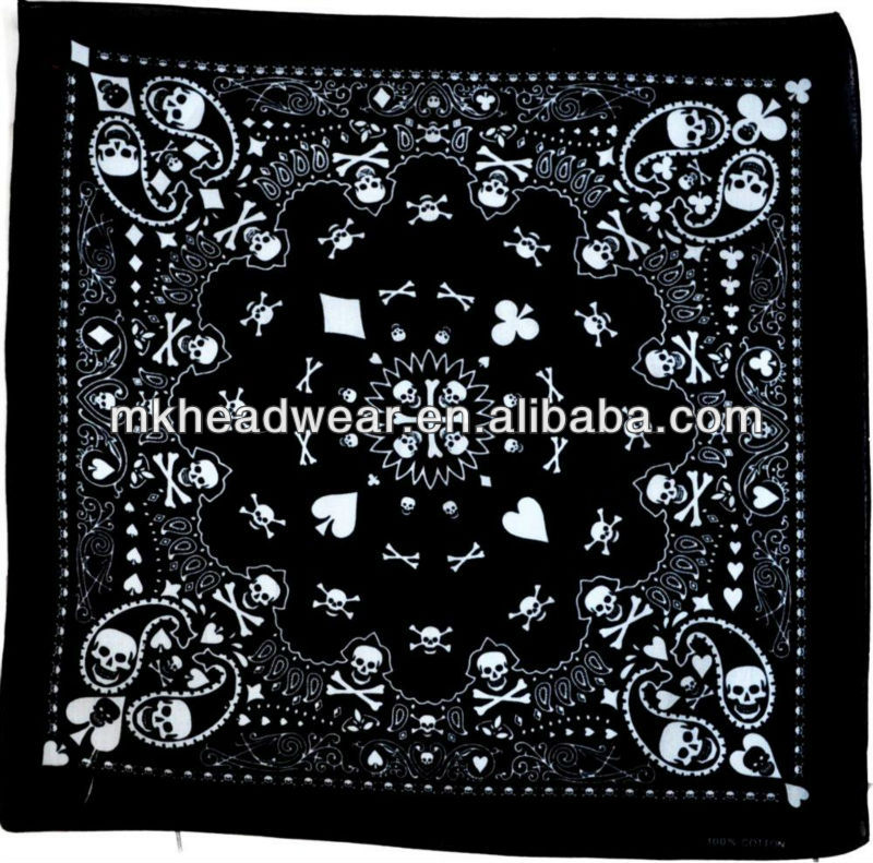Skull, bone and paisley beautiful printed pattern 100% cotton bandana can be worn for a number of events