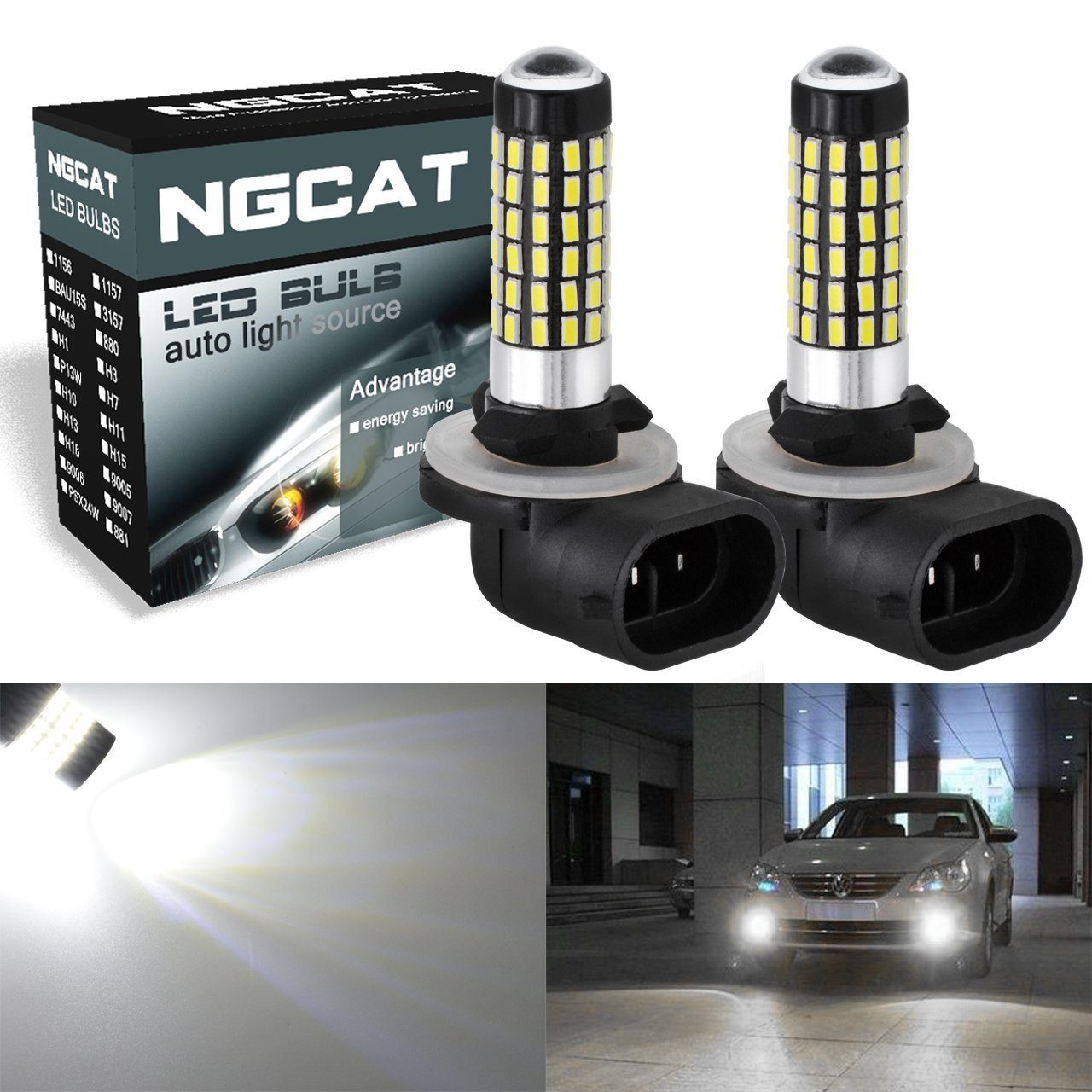 NGCAT 2PCS 881 894 886 889 896 898 LED Bulbs 900 Lumens 3014SMD 78-EX Chipsets with Lens Projector Used for Fog Light Daytime Running Light Automotive Driving Lamp,Xenon White 6500K,12-24V 4W