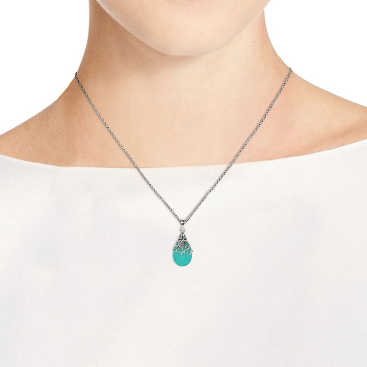 simple 925 sterling silver turquoise necklace for women
