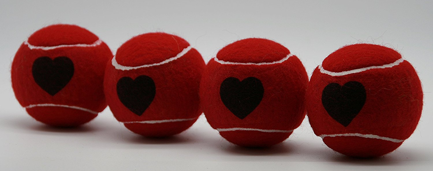 Price's Heart Motif Type 2 Tennis Balls Made in the UK (1 x 4 Ball Tube) Red, pressureless, durable and long lasting.