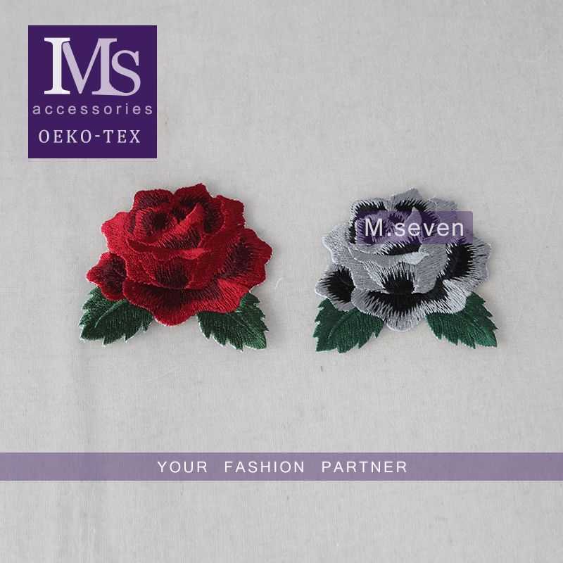 2016 new patch work blouse designs 6*7cm red rose and gray rose flower embroidery patches tim for clothing