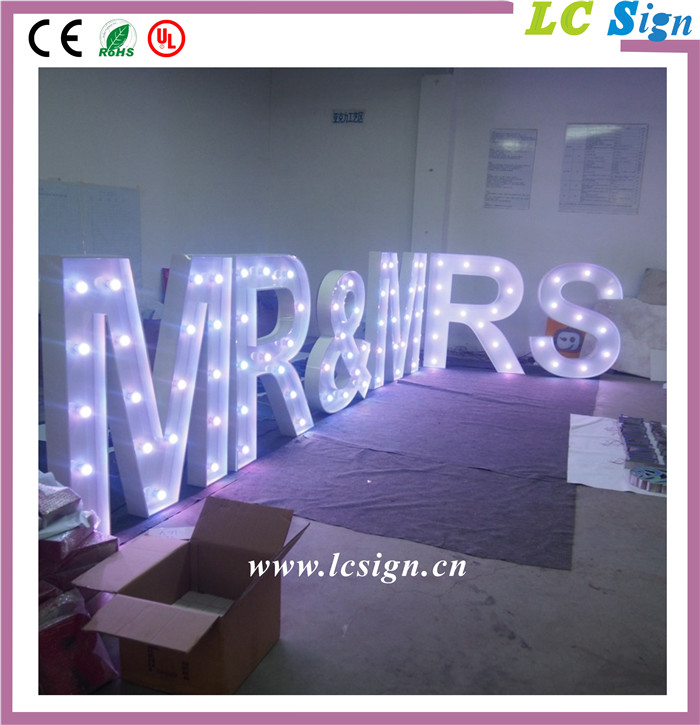 Customzied LED Giant Letter metal stage Lights for Hire Wedding party