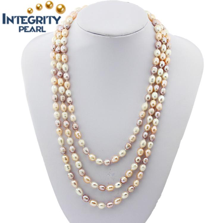 308a296ffbba Precio de collar real de perlas naturales de agua fresca 7-8mm 60 pulgadas