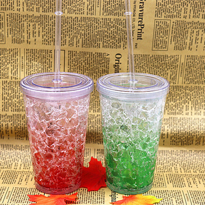 Summer Plastic Tumbler Fashion Ice Plastic Cup Mulit Colour Double Deck Plastic Creative cup with Straw and lid