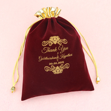 Wedding favor decoration Custom pouch with logo velvet bag for gift candy