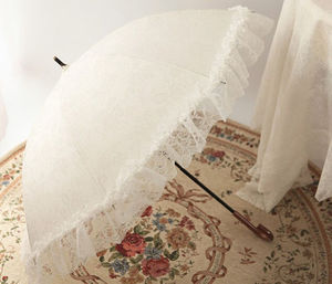 Chinese Cute Umbrella White Cotton Lace Parasol For Wedding