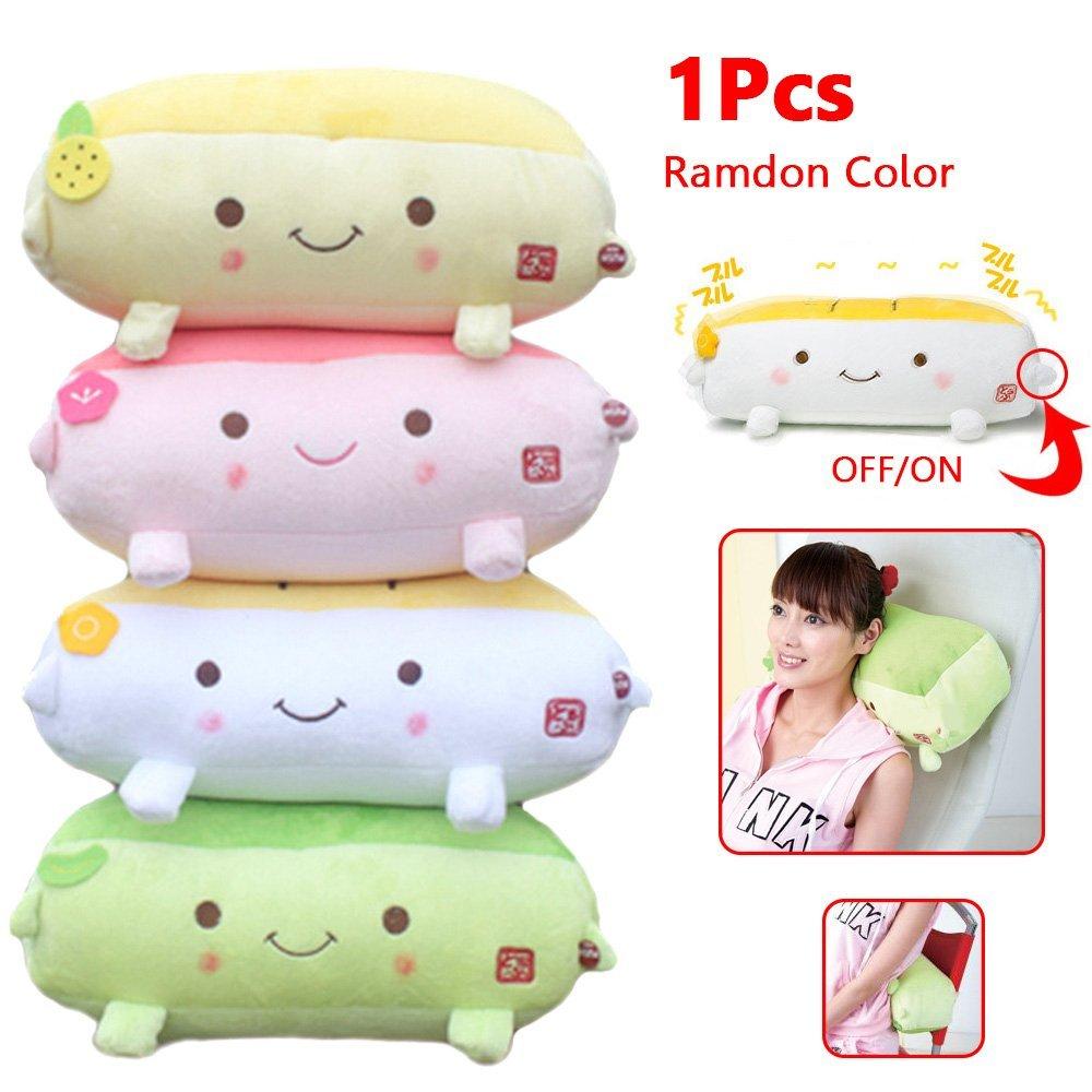 Cute Plush Pillow for Massage, Vibrational Pillow Cushion Hannari Grapefruit ToFu Massage Pillow, Kawaii Toy Massage Pillows for Home Office(Random Color)