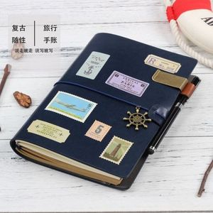 A5 loose leaf Japanese-style vintage bandage travel leather notebook hardcover pu diary notebook