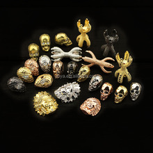 CZ6943 most popular products 2017, head charm beads for bracelets making,wholesale cz zircon diamond brass jewelry findings