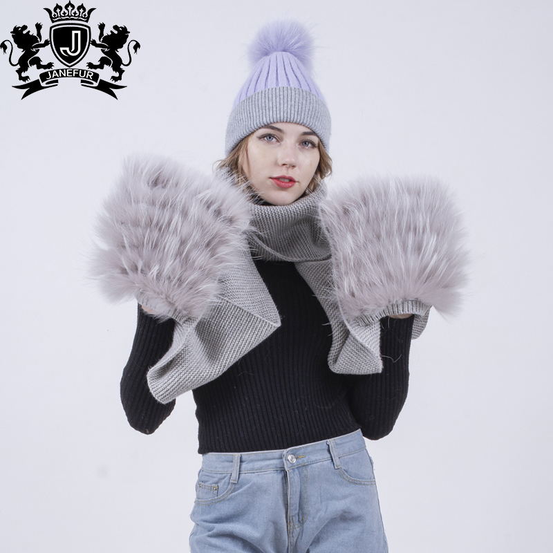 factory winter hats with detachable fur ball top real raccoon fur pom pom  knitted beanie hat 0e37f01f549