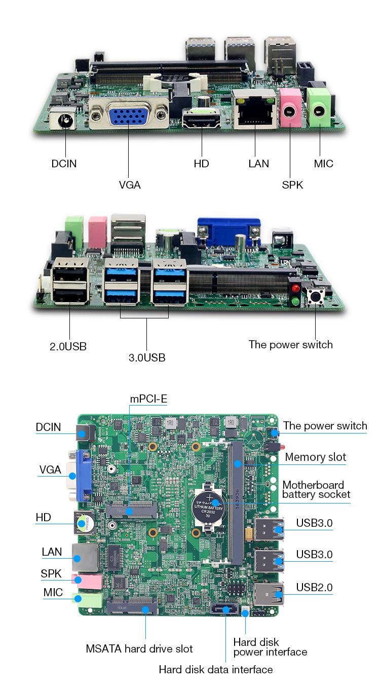 HLY ミニ itx マザーボード統合コア i7 7500U i5 i3 7th 世代プロセッサ Vga USB3.0 ミニ PCIE 無線 lan msata SATA DDR3L マザーボード
