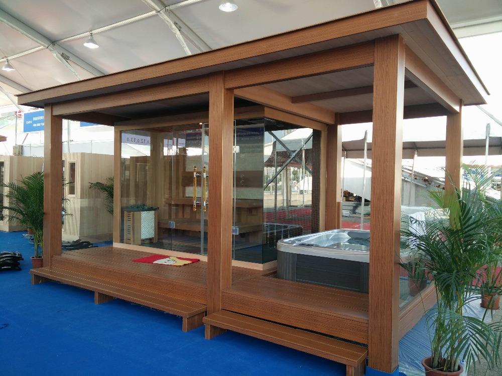 Prefabricated Wooden House Gazebo With Outdoor Sauna Room