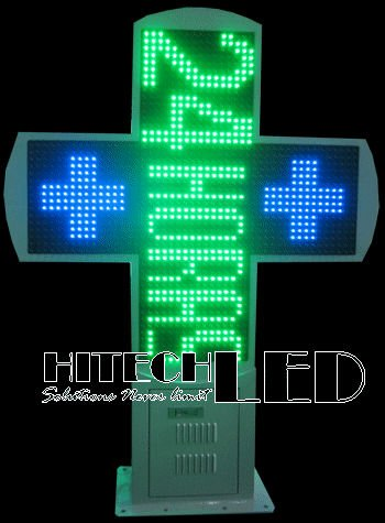 P16 BG bi-color LED cross display,double color LED pharmacy cross,croix de pharmacia