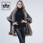 High quality cheap price wool cape shawl winter warm gray fur shawl