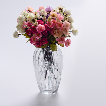 2017 Wholesale Tall Clear Oval Flower Arrangement Glass Vase With
