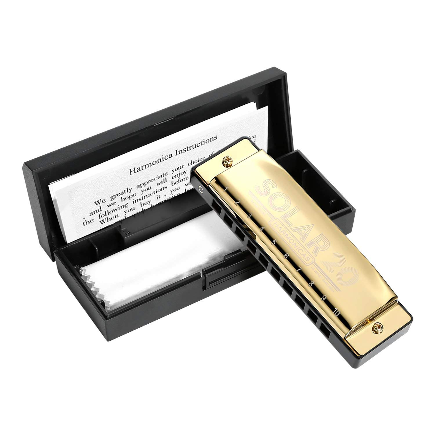 Harmonica C Blues Diatonic Ballad Unisex Harmonica Standard 10 Hole, Mini Harmonica for Adults Mens Womens Beginners Students Children Kids Gifts, Blues Harp for Rock Country Folk Jazz with Case-Gold