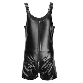 41c2f4e70b1 Mens Romper Faux Leather Zip Detail Bodysuit PVC Clubwear Catsuit Tank Tops  Shorts Jumpsuit Romper Butcher