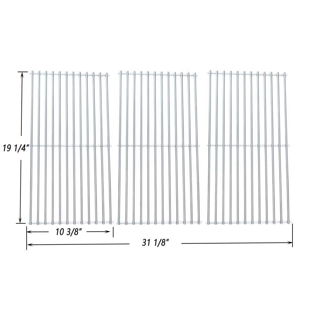 Onlyfire BBQ Stainless Steel Cladding Rod Cooking Grates / Cooking Grid Replacement Fit for Select Gas Grill Models by Nexgrill, Perfect Flame and Others, Set of 3