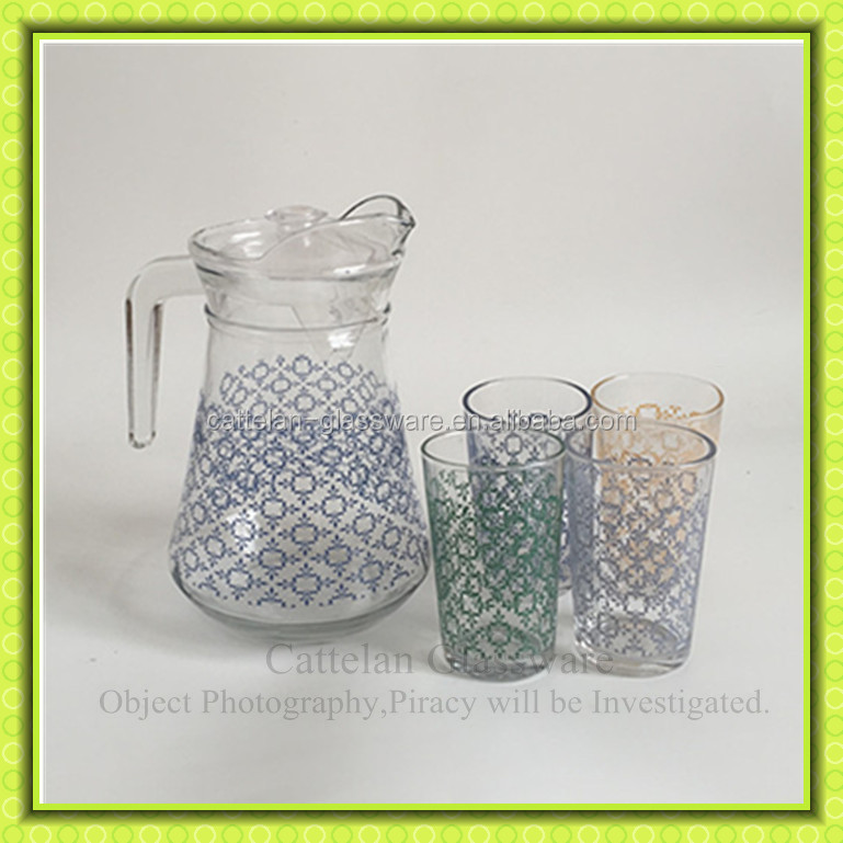 1.5l Flower Printed Water Glass Jug With 4 Cups,Glass Pitcher For ...