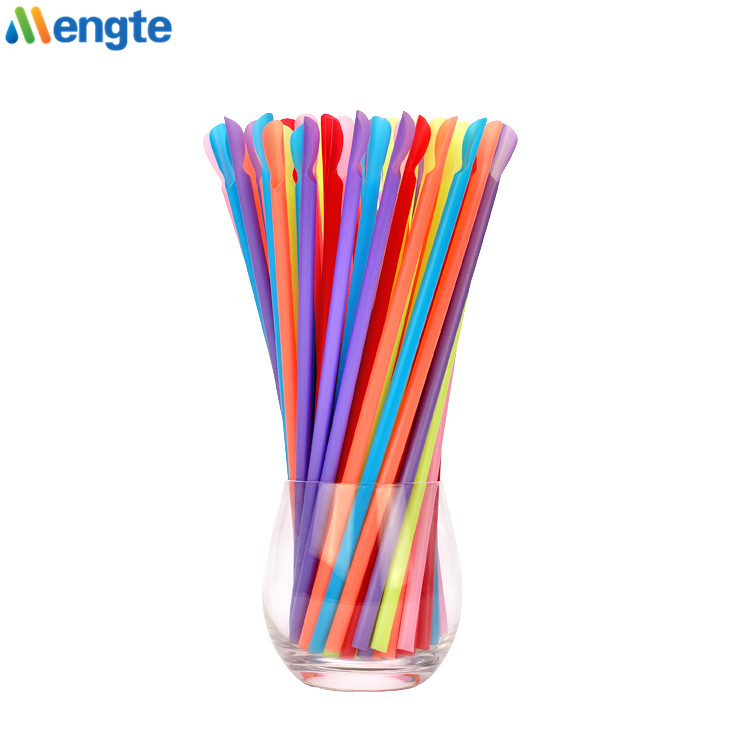 Eco-Friendly Biodegradable Compostable Flexible Starch PLA Straws Compostable Drinking Soup PLA Spoon Straw
