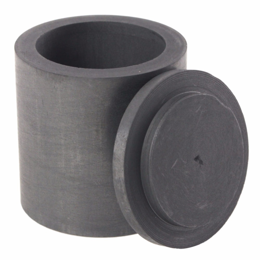 High Purity Graphite Aluminum Melting Metal Crucible Casting With Lid Cover 40*40mm