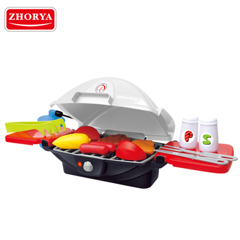 zhorya new design kids pretend kitchen cooking game plastic toy bbq grill play set