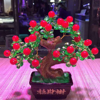 Natural crystal lucky apple tree,red fruit quartz crystal money trees for decoration or gift