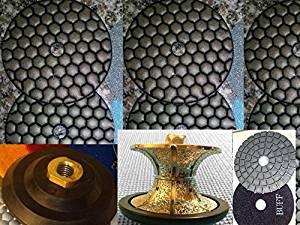 "Full Bullnose V40 (40mm) 1-1/2"" Inch Diamond Brazed Router Bit Profiler 4 Inch DRY Polishing Pad 9 Pieces Glaze Buff Granite Marble Concrete Terrazzo Stone Travertine 5/8""-11 Thread"
