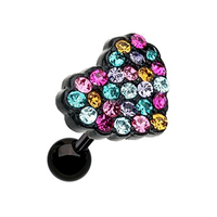 Surgical Steel Black PVD Plated Heart Shape Multi - Gem Paved Cartilage Tragus Earring