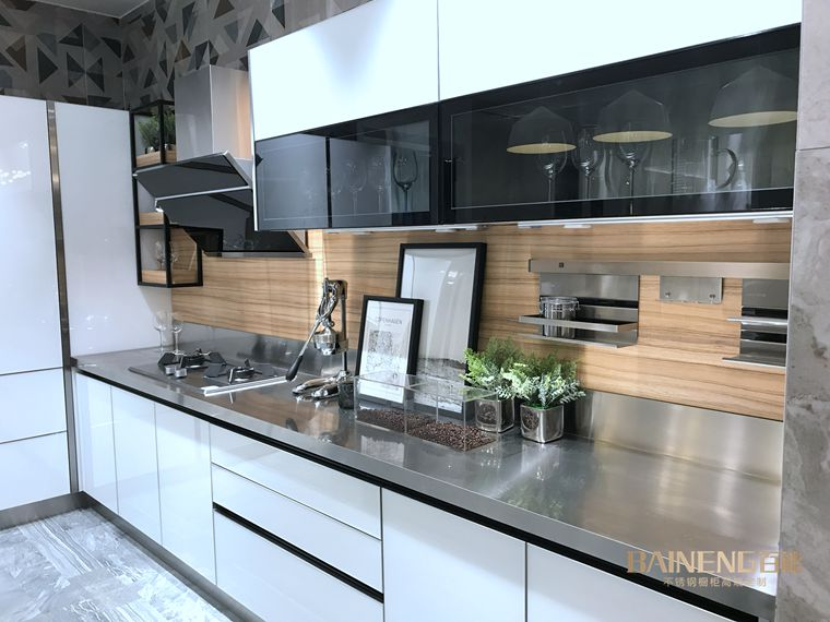 2017 Newest High Gloss Designs Stainless Steel Kitchens