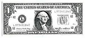 Dollar Rent A Car Federal Reserve Note One $ Bill Advertising Item 1986