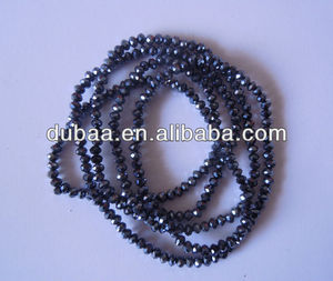 Fashion Shining Cut-Faced Beads Necklace,Plain Long Crystal Beads Elastic Necklaces Wholesaler