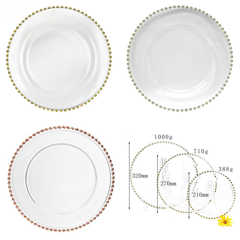 PZ22640 With Gold Rim Clear Glass Charger Plates Beaded