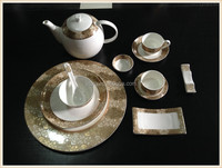 High quality 12pcs Ceramic tableware with Luxury plating gold printing