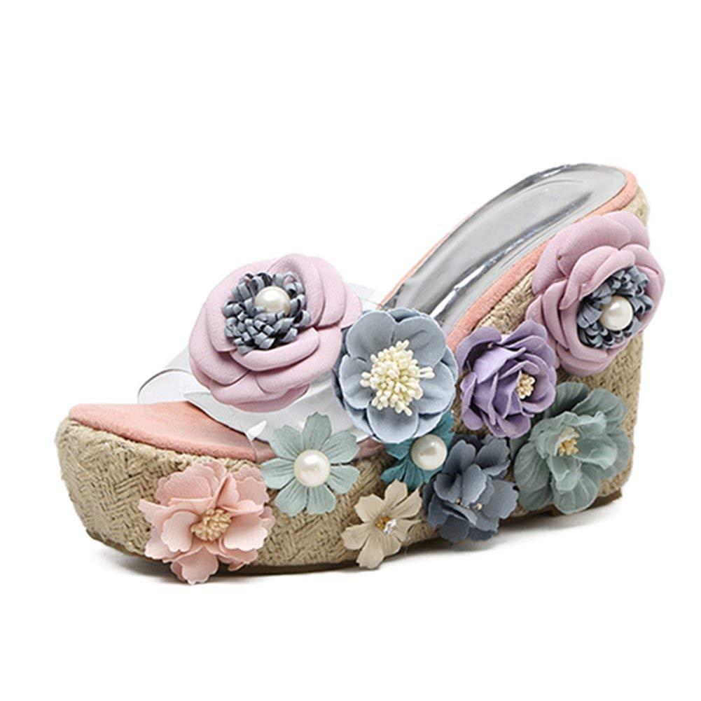 3da319a074432 Women Slippers Wedge High Heels Summer Shoes Platform Flowers Straw Bohemia  Transparent Flip Flops Party Shoes