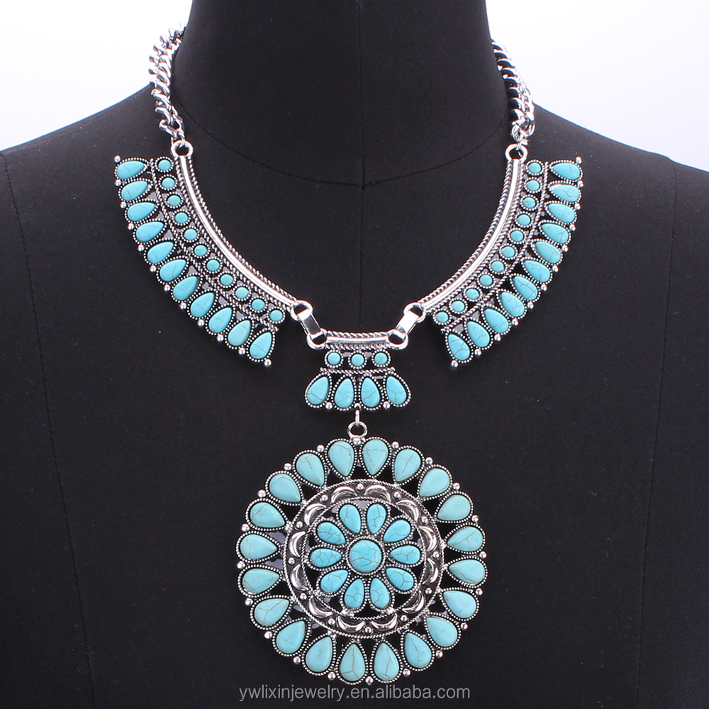 NLX-00299 india turquoise jewelry big statement necklace jewelry made in turkey turquoise