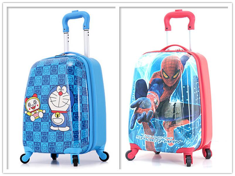 84256ee6c154 18'' Boys Doraemon Rolling Luggage/Kids ABS Spiderman Print Suitcase On  Wheels/Children Superhero School Trolley Bags