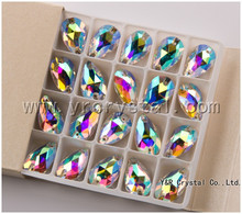 Sew on Crystal Tear Drop 17x28mm Crystal AB Rhinestones