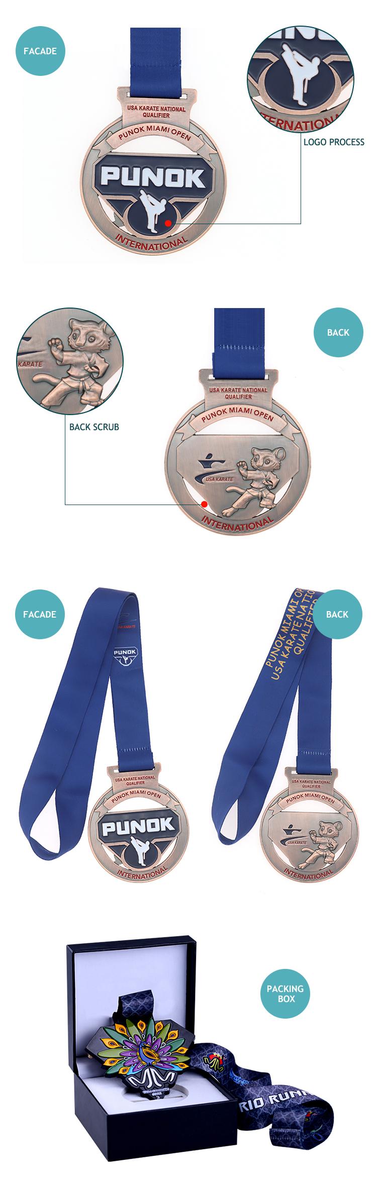 Custom-made wholesale medal taekwondo punok medallas