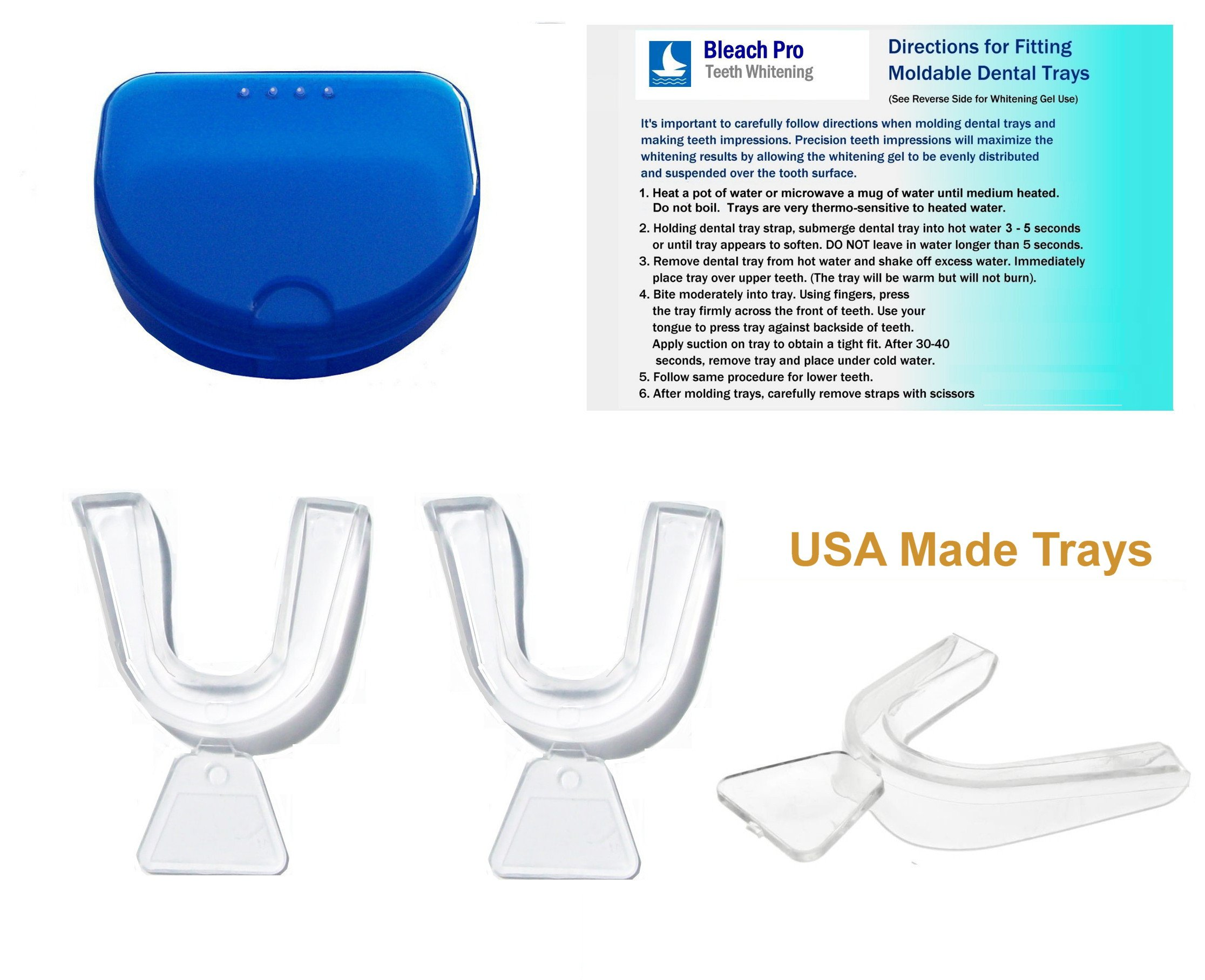 Teeth Whitening Dental Tray Set. Moldable Impression Trays with Storage Case