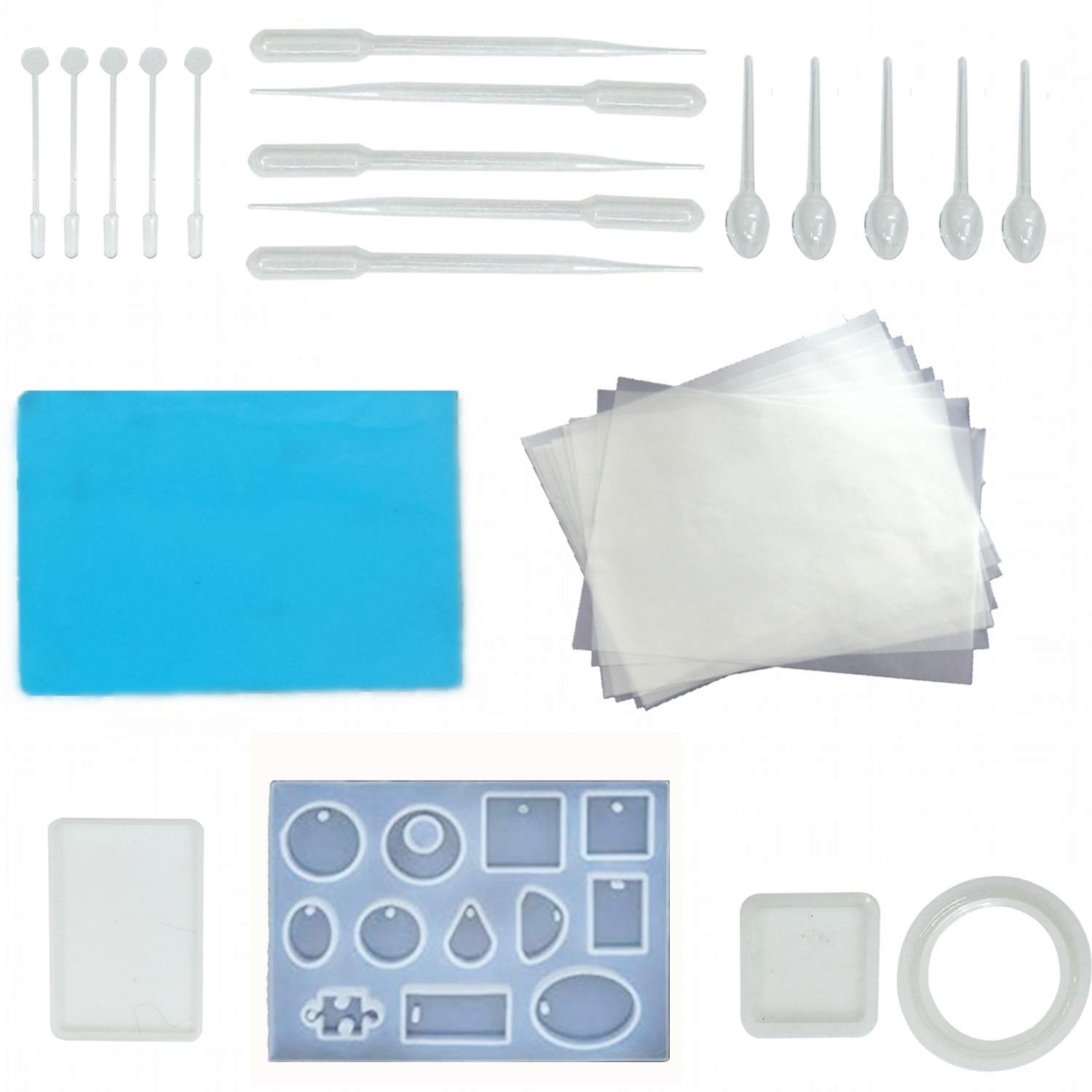 Resin Casting Molds and Tools Set, Include Assorted Styles Silicone Molds, Stirrers, Droppers, Spoons, and Parchment Papers, Silicone Sheet for Pendant Jewelry Making,30 Pieces Totally