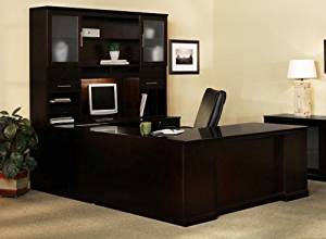 "Mayline U Shaped Desk W/Hutch Overall Footprint: 72"" X 102"" X 72"" Desk: 72""W X 30""D X 29 1/2""H, Bridge: 48"" X 20"", Credenza: 72""W X 24"" - Espresso - Bridge on Left (Right Shown)"
