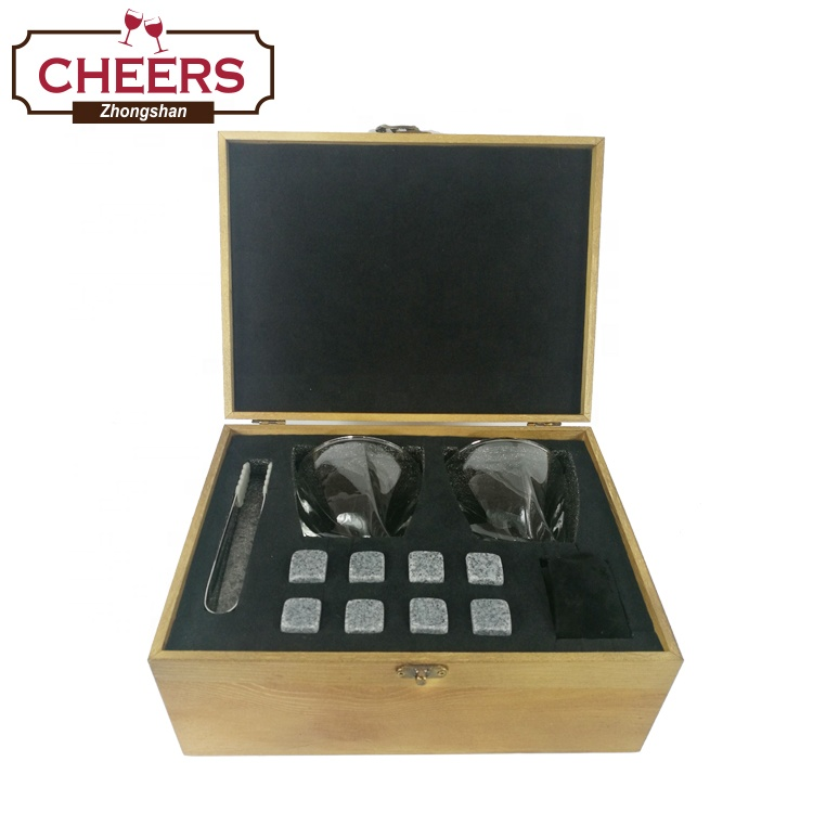 Premium Whiskey Stones and Whiskey Glasses Gift Boxed Set, 8 Granite Chilling Whisky Rocks with Ice Tong and Pouch in Wooden Box