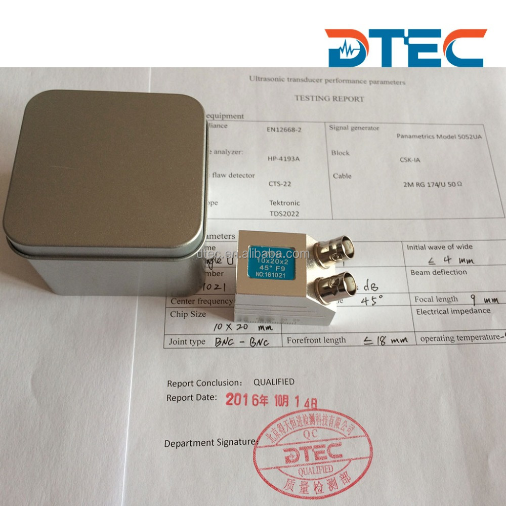 DTEC Dual Angle Probe,10x20mm,2MHz,BNC-BNC probe for UT machine,Customized OEM probes,manufacturer price
