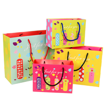 Carrer handbag With Cute Birthday Candle Patterns Birthday Cake Packing Children Favor Color printed Customized Size paper bags