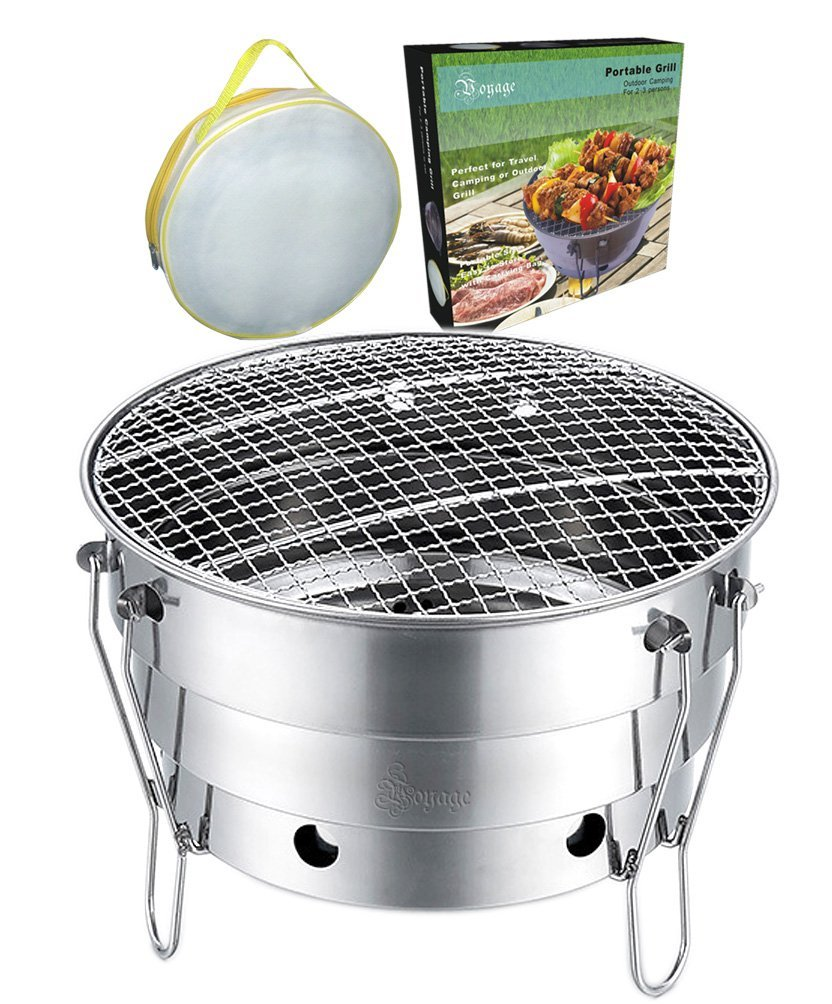 Voyage Portable Charcoal Grill for Outdoor Camping Barbecue, Travel Picnic Design, Foldable BBQ Grill with a Carrying Case