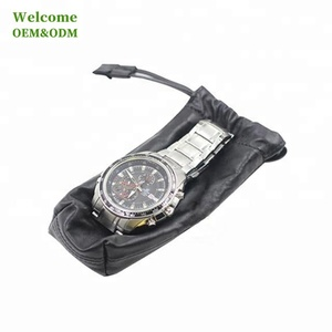 KID newest drawstring high quality genuine small custom watch leather pouch